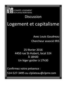 Discussion Logement et Capitalisme avec Louis Gaudreau – chercheur associé IRIS !