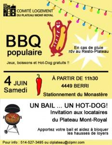 BBQ populaire 4 juin au Comité logement du Plateau !