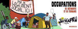 Manifestation dans le cadre de la semaine d'occupation de bâtiments et de terrains