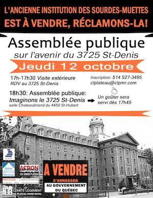 Assemblée publique: Avenir du 3725 St-Denis