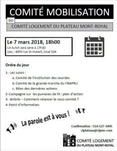 Comité de mobilisation du CLPMR – 7 mars
